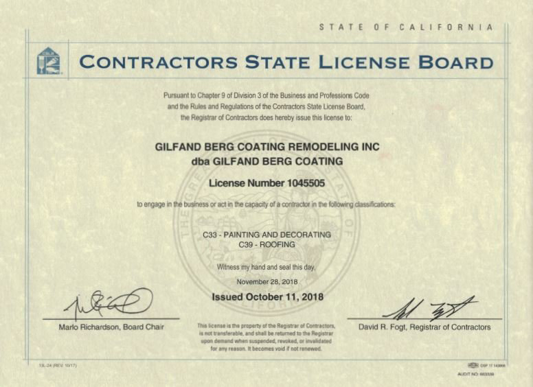 State Contractor's License