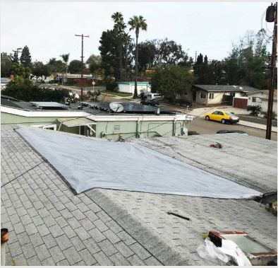 Another view shingle roof tarp