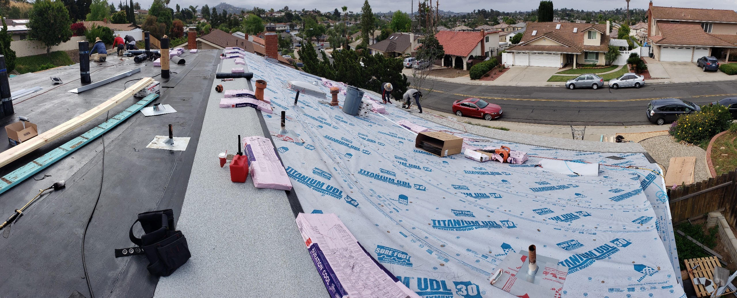 flat roof and pitch installation
