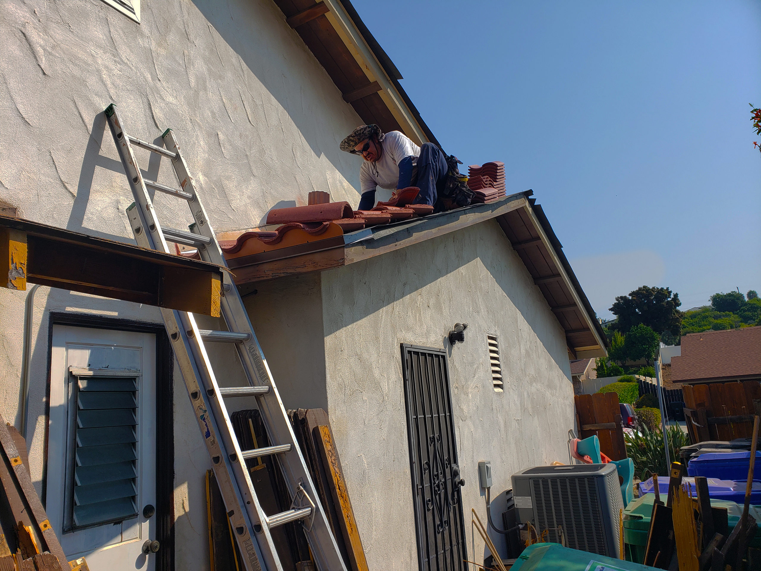 working on roof
